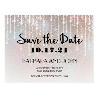 Elegant Glitter Lights Save the Date Postcard