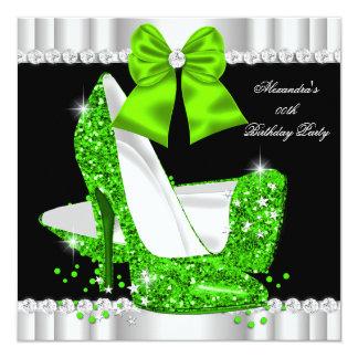 Elegant Glitter Lime Glamour High Heels Birthday 3 13 Cm X 13 Cm Square Invitation Card