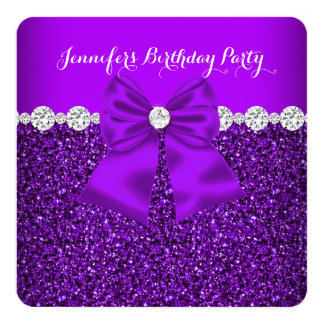 Elegant Glitter Purple Diamonds Birthday 3 13 Cm X 13 Cm Square Invitation Card