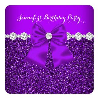 Elegant Glitter Purple Diamonds Birthday 3 Card