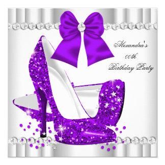 Elegant Glitter Purple Glamour High Heels White 13 Cm X 13 Cm Square Invitation Card