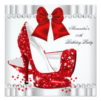 Elegant Glitter Red Glamour High Heels White Card
