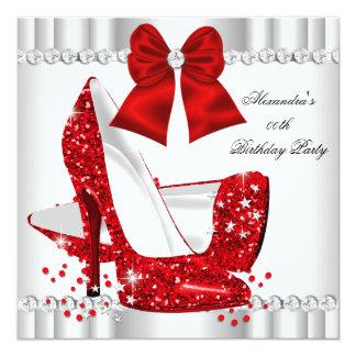 Elegant Glitter Red Glamour High Heels White Card