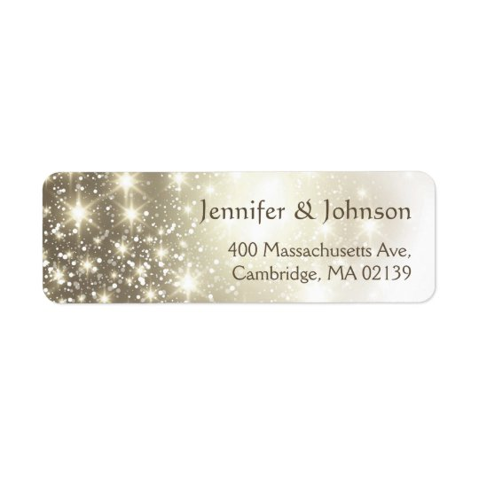 Elegant Glitter Sparkles Wedding Return Address Label