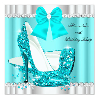 Elegant Glitter Teal Blue Glamour High Heel Silver 13 Cm X 13 Cm Square Invitation Card