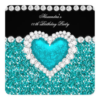 Elegant Glitter Teal Blue Heart Birthday Party 13 Cm X 13 Cm Square Invitation Card