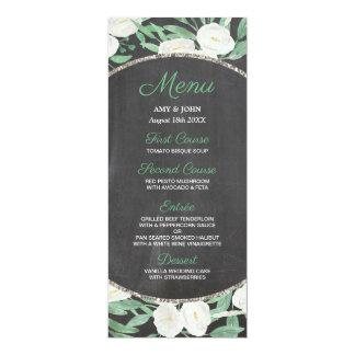 Elegant Glitter Watercolor Flowers Wedding Menu Card