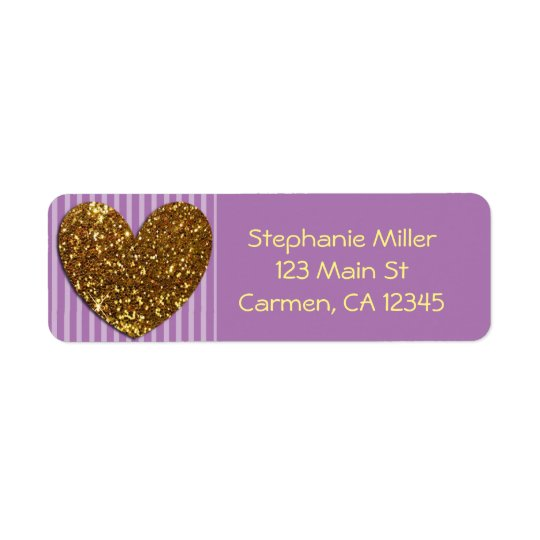 Elegant Glittered Gold Heart and Purple Background Return