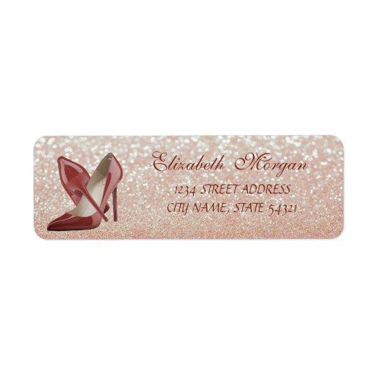 Elegant  Glittery  Bokeh-High Heels Address Label