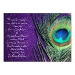 Elegant Glittery Purple Peacock Wedding 13 Cm X 18 Cm Invitation Card