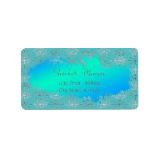Elegant Glittery Snowflakes Label