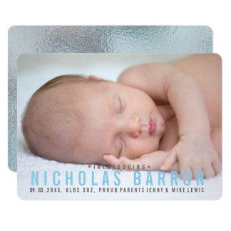 Elegant glossy BLUE BOY announcement photo card