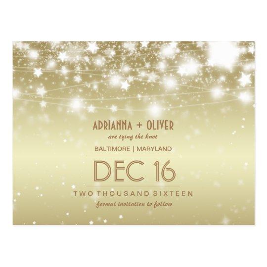 Elegant Glowing Stars Gold Save The Date Postcard