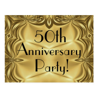 Elegant Gold 50th Anniversary Invitation Postcards