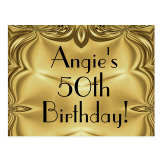 Elegant Gold 50th Birthday Invitation Postcards