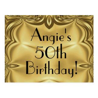 Elegant Gold 50th Birthday Invitation Postcards