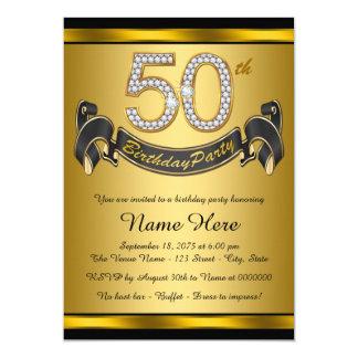 Elegant Gold 50th Birthday Party 13 Cm X 18 Cm Invitation Card