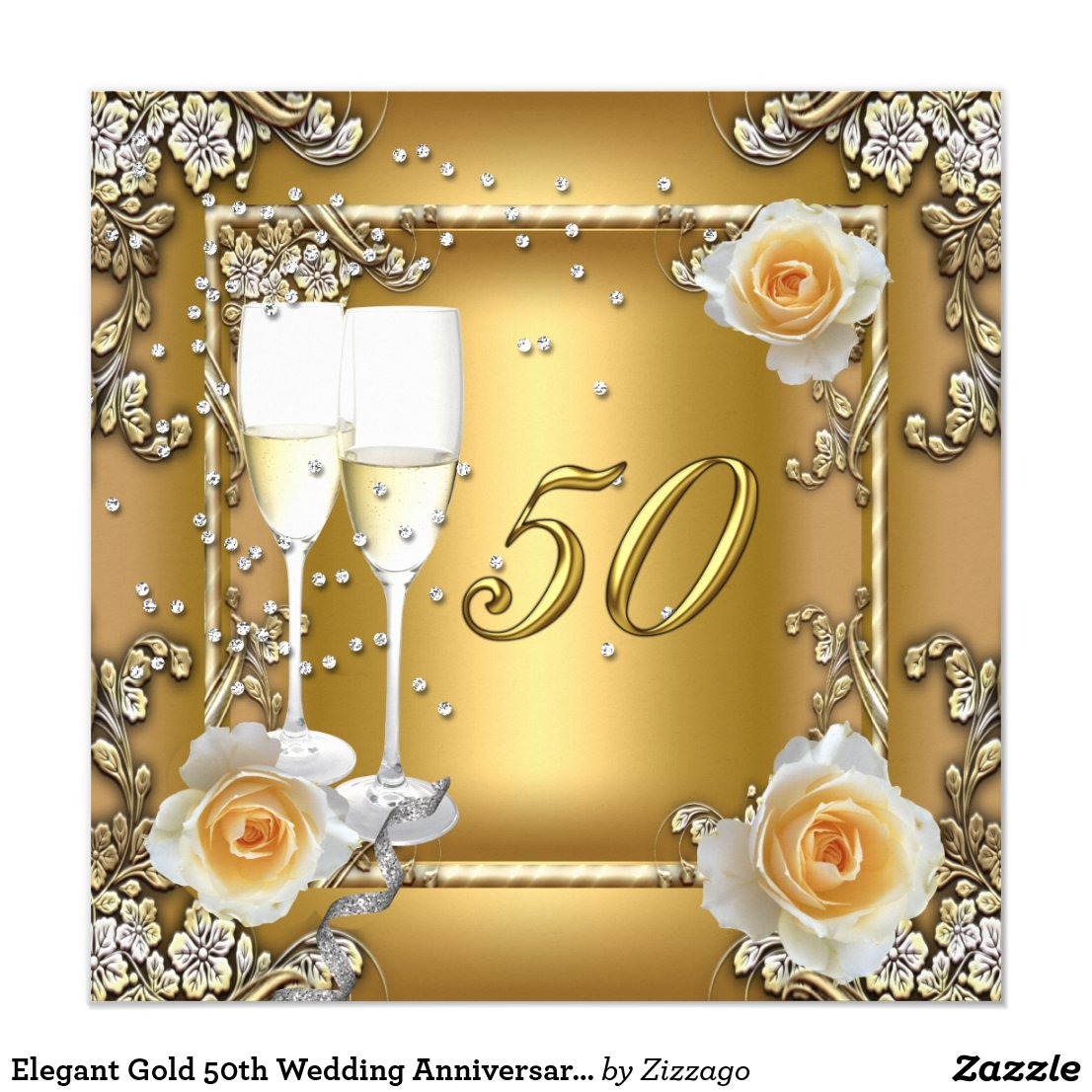 Elegant Gold 50th Wedding Anniversary Party