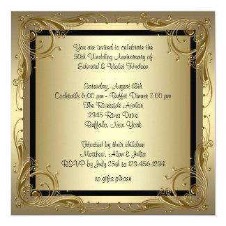 Golden wedding anniversary invitations announcements zazzle elegant gold 50th wedding anniversary party card stopboris Choice Image