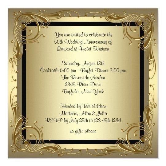 elegant gold 50th wedding anniversary party invitation zazzle co uk