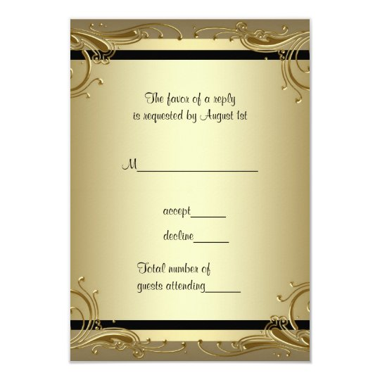 Elegant Gold 50th Wedding Anniversary Party RSVP Card