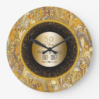 Elegant Gold 50th Wedding Anniversary Personalized Large Clock