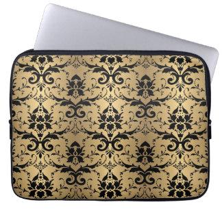Elegant Gold and Black Damask Effect Pattern Laptop Sleeve