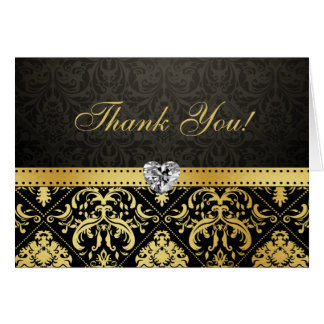Elegant Gold and Black Damask with Diamond Heart Note Card