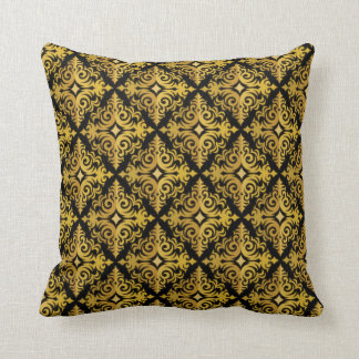Elegant Gold and Black Diadem Design Throw Pillow