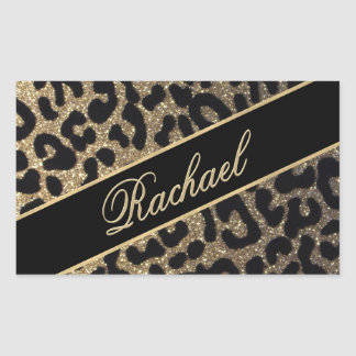 Elegant Gold and Black Leopard Print Rectangular Sticker