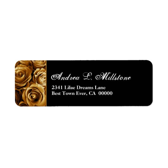 Elegant Gold and Black Roses S201 Address Label
