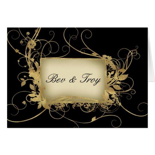 Elegant gold and black swirl design - customise it card