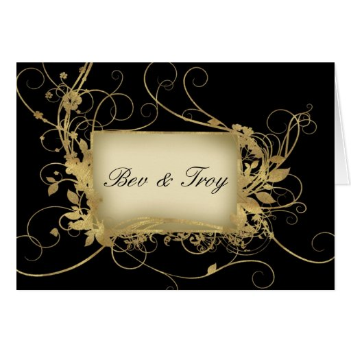 Elegant gold and black swirl design - customise it greeting card