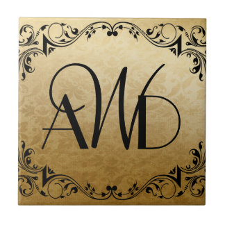 Elegant Gold and Black Three Initials Tile