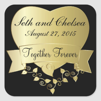Elegant Gold and Black Wedding Day Square Stickers