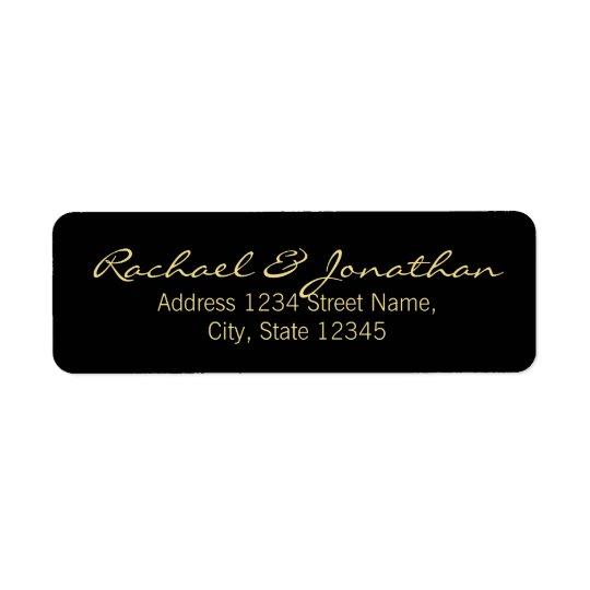 Elegant Gold and Black Wedding Return Address Label