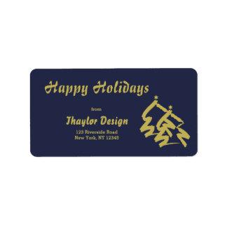 Elegant Gold and Blue Happy Holidays Label