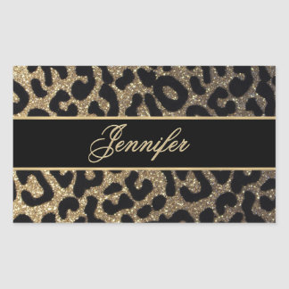 Elegant Gold and Blue Leopard Print Rectangular Sticker