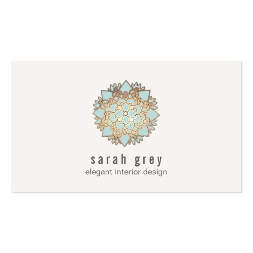 Elegant Gold and Blue Lotus Flower Business Cards