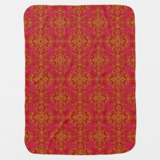 Elegant Gold and Deep Pink Floral Damask Pattern Baby Blanket