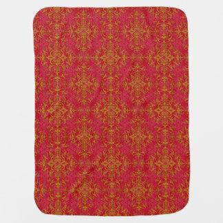 Elegant Gold and Deep Pink Floral Damask Pattern Receiving Blankets