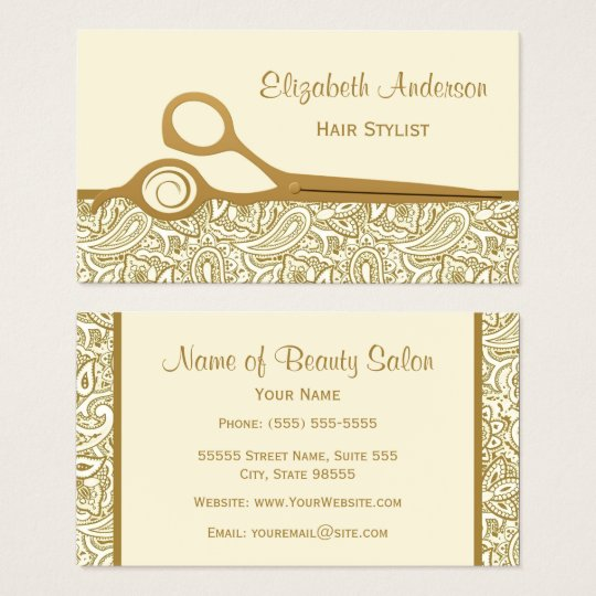 Elegant Gold and Ivory Paisley Hair Salon Business