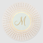 Elegant Gold and Light Blue Gold Monogram Round Sticker
