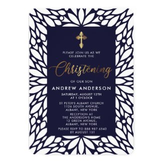 Elegant Gold And Navy Blue Boy Christening Invitation