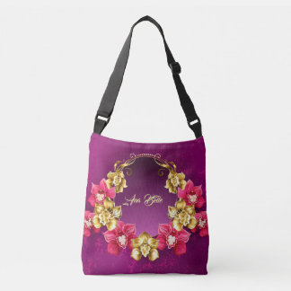 Elegant Gold And Pink Orchids Crossbody Bag