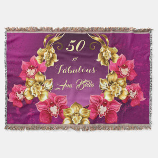 Elegant Gold And Pink Orchids Throw Blanket