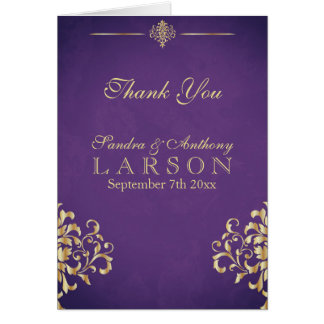 Elegant Gold and Purple Damask Wedding Thank You Card