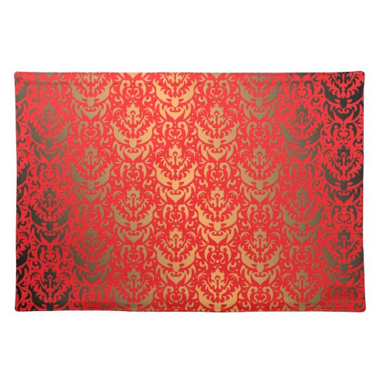 Elegant Gold and Red Faux Shimmer Damask Pattern