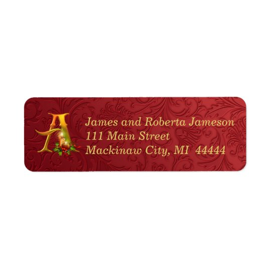 Elegant Gold and Red Monogram Christmas Label