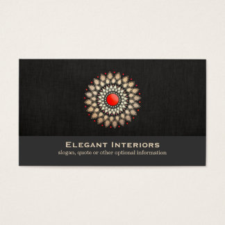 Elegant Gold and Red Motif Interior Designer Chic Business Card